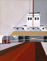 Edmund Lewandowski (1914–1998) Lake Freight, 1948.  Opaque watercolor on paper © Estate of Edmund Lewandowski.  1985.4.