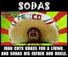 (Sodas) Juan cuts the grass for a living and Sodas his Father and Uncle. From Mexican Word of the Day! Mexican Word Of Day, Mexican Words, Word Of The Day, Funny Quotes, Funny Memes, Hilarious, Funny Pins, Dankest Memes, Chicano