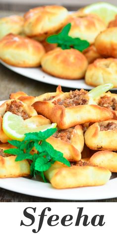 Sfeeha, Lebanese meat pies. Serve them as an appetizer or main. How delectable! Lebanese Meat Pies, Lebanese Recipes, Plain Yogurt, Middle Eastern Recipes, Food Themes, Dry Yeast, Street Food, Tapas, Food Processor Recipes