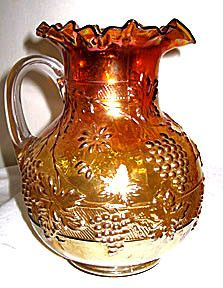 Carnival Glass - Dugan - Floral & Grape - Marigold Pitcher - 9 1/2""
