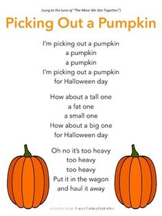 "Pumpkin Song Printable for Fall /Autumn ""Picking Out a Pumpkin"" - Circle Time Poem Morning Meeting Song - a FREE printable from Paper Darling Printables TpT Store Kindergarten Songs, Preschool Music, Fall Preschool, Preschool Lessons, Halloween Songs Preschool, Halloween Songs For Toddlers, Halloween Music, Preschool Ideas, Halloween Ideas"