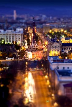 BCN at night (Tilt-shift version) by Jordi Martin, via Flickr. This photo was taken on January 19, 2009 in Poble Sec, Barcelona, Catalonia, Spain.