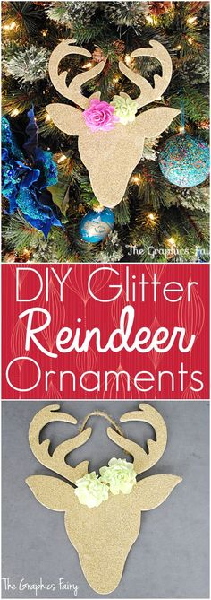 Homemade Christmas Ornaments - Glitter Reindeer - The Graphics Fairy