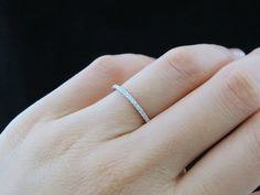 Small Brilliant Round Cut Eternity Cushion Set 1.5mm stones Wedding Band, Engagement, Man Made Diamond, Bridal Ring, Sterling Silver on Etsy, $42.99