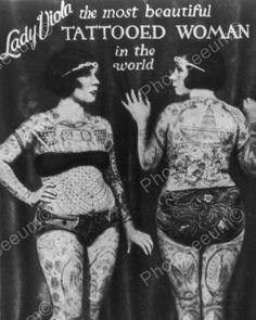 Lady Viola Beautiful Tattooed Woman 8x10 Reprint Of Old Photo