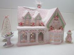 SHABBY LIGHTED CHRISTMAS COTTAGE HOUSE VILLAGE PINK CHIC ROSES~GLITTER~CRYSTALS! | eBay $83.44 Sold