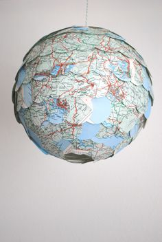 Scalloped Map paper lantern #travel