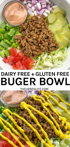 These healthy loaded burger bowls are piled high with lettuce, ground beef, red onion, pickles, tomatoes, peppers, and a dairy-free special sauce. Homemade Big Mac Salad Recipe! #weightwatchers #dinner #dairyfree Healthy Beef Recipes, No Dairy Recipes, Dairy Free Recipes For Dinner, Dairy Free Dinners, Healthy Meals, Dinner Recipes, Healthy Eating, Ground Beef Recipes For Dinner, Dinner With Ground Beef