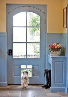 Pet Door, Doggy Doors, Door With Dog Door, Yellow Cottage, Back Doors, Traditional House, Windows And Doors, Arched Doors, Mudroom