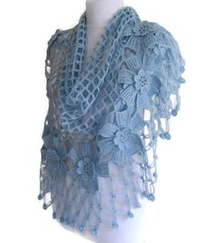 Diy Crafts - flower shawl crochet shawl wedding bride Blue by likeknitting Crochet Shawls And Wraps, Knitted Shawls, Crochet Scarves, Crochet Yarn, Crochet Clothes, Romantic Wedding Colors, Colored Rope, How To Make Tassels, Handmade Gifts For Her