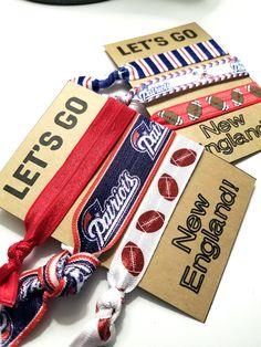 Set of 3 New England Patriots Hair Ties   Patriots Football   Boston Sports  Fan   2699a8f3bd8