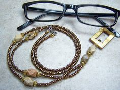 Lanyard Eyeglass Holder Eyeglass Necklace Holder, Copper Beaded