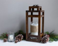 Large Wood Lantern and Decorative Candle by TheSouthernBuffalo