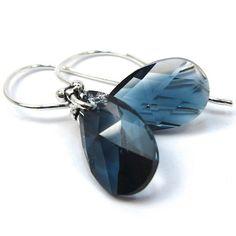 Crystal Montana Blue Blend Teardrop by CatjuHandmadeJewelry
