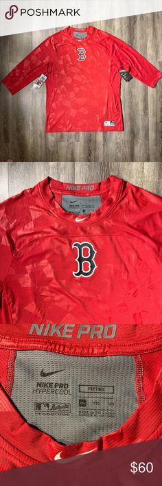 """Nike Boston Red Sox Fitted 3/4 Sleeve Shirt XXL NWT Nike Pro Hypercool Boston Red Sox Fitted 3/4 Sleeve Shirt Men's XXL 2XL  * New with tags * Size: XXL/2XL * Color: Red/ Gym Red * Dri-Fit * Boston Red Sox Logo printed on the chest * Nike Logo printed on the neck line * MLB Logo printed on the back * Mesh Fabric * Tagless Collar * Targeted Ventilation * Flatlock Stitching * 89% Polyester/ 11% Spandex * Machine washable * Measurements:   - Chest: 24""""   - Sleeve: 25.5""""   - Length: 31.5""""  If you have any questions, please let me"""