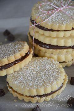 Chocolate Filled Shortbread Cookies - I prefer Jam or fruit preserves filling.
