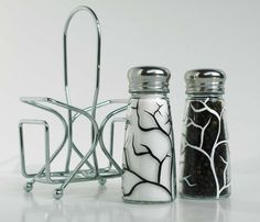 White and Black Tree Branch Salt and Pepper by MaryElizabethArts, $29.00
