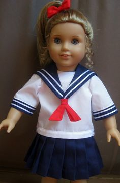 Special order for Rebecca    Doll Clothes Sailor Outfit, School Uniform fits American Girl Doll