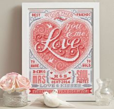 Lovely wedding present! Cross stitch at its best, with a modern twist on the traditional