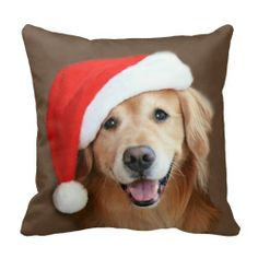 Golden Retriever With Santa Hat Pillows by #AugieDoggyStore