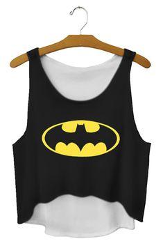 Sleeveless Batman Print Crop Top