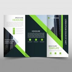 Modern green and black trifold business brochure template Free Vector