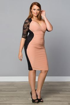 Our plus size Valentina Illusion Dress will make you a knockout for your night out! Its contrasting black lace panels help shape your waist for hour-glass allure. Find more made in the USA styles at www.kiyonna.com. #kiyonnaplusyou
