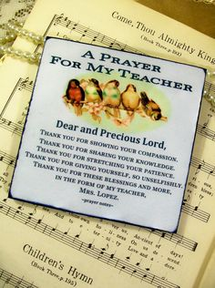 Personalized Teacher Gift Religious Art Personalized Prayer Gifts for Teachers, Principals, Counselors Thank You Teacher by Prayer Notes