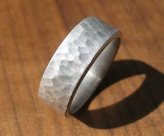 Hammered Stainless Steel Ring. $159.00, via Etsy.