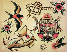 Nautical Tattoo Flash by ParlorTattooPrints on Etsy, $14.99