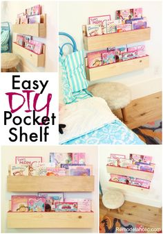 Easy DIY Pocket Shelf Tutorial PLUS an awesome Bosch Tools giveaway for Father's Day! #ad These forward facing bookshelves are perfect for a kid's room and SO easy to build -- just 20 minutes to make a pair of shelves!