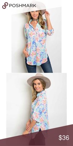 New! Floral Button Down Long Sleeve Top New! Floral Button Down Long Sleeve Top. Sleeves can be rolled up with a strap and button. Fabric 100% polyester. No Trades. Price is Firm Unless Bundled. GlamVault Tops Button Down Shirts