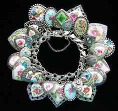 Vintage Sterling Silver Heart Charm Bracelet Guilloche Enamel Flowers Rose Cameo.