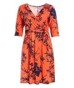 Loving this Orange & Navy Floral Tie-Waist Surplice Dress - Plus on #zulily! #zulilyfinds