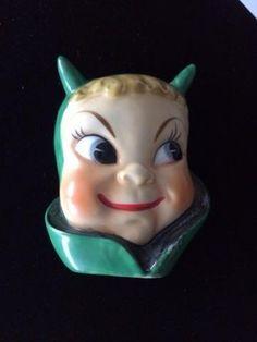 RARE Vintage DEVIL Ceramic Wall Pocket Planter