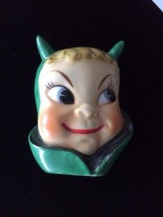 RARE Vintage DEVIL Ceramic Wall Pocket Planter