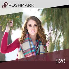 Plaid Blanket Scarf Used once in my seniors pictures! Francesca's Collections Accessories Scarves & Wraps