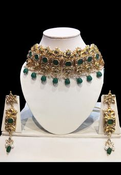 Alloy Based Choker Necklace in Green Enhanced with Stones and Beads It is Enclosed with an Adjustable Cord Available with a Matching Pair of Earrings Punjabi Wedding, Necklace Set, Cord, Stones, Chokers, Beads, Green, Earrings, Stuff To Buy