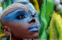 Face adornments and body painting, Samba Schools Parade. Carnival, Rio de Janeiro, Brazil. Wig made of small pieces of mirror simulating diamonds.
