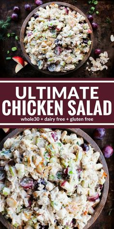 This Ultimate Chicken Salad is both creamy and crunchy! It's packed with bright flavors like diced apples, grapes, almonds, and fresh herbs. It's also completely good for you since it's dairy free, and gluten free! Enjoy it on lettuce wrap Salad Recipes For Dinner, Dinner Salads, Chicken Salad Recipes, Healthy Salad Recipes, Recipe Chicken, Salad Chicken, Gluten Free Chicken Salad Recipe, Chicken Salad Recipe Easy Healthy, Dairy Free