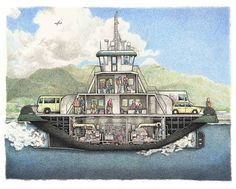 Here is a ferry crossing Tongass Narrows with a load of passengers ready for adventure. In the backdrop an Alaska Airlines jet can be seen flying in front of the clouds.This drawing is modeled on the Ketchikan airport ferry, which connects the city, on Revillagigedo Island, to its airport, which is on Gravina Island. There is no other public method for getting back and forth between the two. The ferry has propellers and rudders at both ends that turn in opposite directions to al...