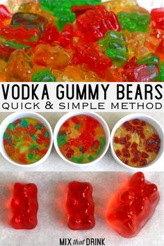 Gummy bears absorb vodka, swell up, and turn into delicious, soft, juicy alcohol treats! For adults only. Ingredients ∙ M. Party Drinks Alcohol, Alcohol Drink Recipes, Fun Drinks, Yummy Drinks, Alcohol Candy, Fruity Vodka Drinks, Alcohol Soaked Fruit, Liquor Drinks, Beverages
