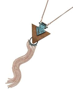 Burnished Copper Tone / Brown Wood / Lead Compliant / Patina Metal / Pendant / Long Necklace