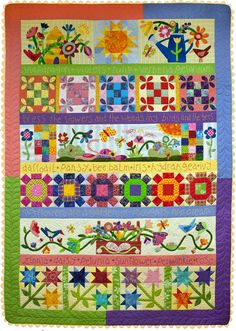 Glory Garden sampler quilt by Pat Wys of Silver Thimble Quilt Company - September 2014 interview by Pat Sloan. For the pattern see http://www.silverthimblequilt.com/shop/glory-garden/