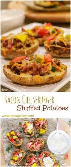 Bacon Cheeseburger Stuffed Potatoes: These bacon cheeseburger stuffed potatoes are the ultimate burger and fries meal combined into one dish!
