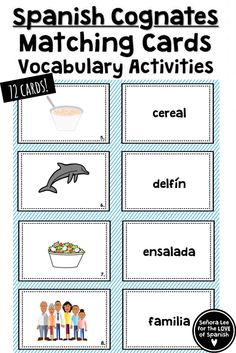 Spanish Cognates | Build Spanish vocabulary quickly and practice definite and indefinite articles with cognates! Includes 36 picture cards and 36 word cards. Includes vocabulary lists, fill in the blank activities using definite or indefinite articles, and word scrambles. #spanishcognates #cognados #spanishvocabulary Spanish Teaching Resources, Spanish Activities, Vocabulary Activities, Vocabulary Cards, Reading Activities, Summer Activities, Spanish 1, Learn Spanish, Spanish Class