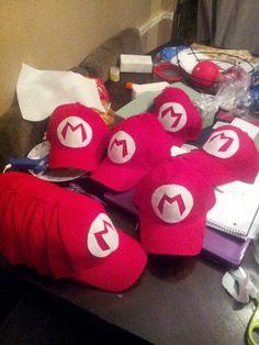 Mario bros hats. Used felt paper for the Ms #diy #mariobros