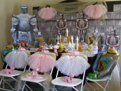Gorgeous Princess and Knight Birthday Party in a Box from My Princess Party to Go. Includes tutus, tiaras, wands, inflate knight sets, dragon craft and more. #princessandknight #princesspartyideas