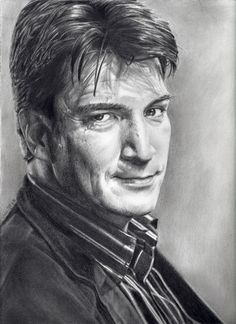 "Drawing Realistic Skin Drawing Print of Nathan Fillion as Rick Castle in TV's ""Castle"" - Realistic Drawings, Drawing Prints, Woman Drawing, Canvas Drawing, Realistic Eye Drawing, Skin Drawing, Human Figure Drawing, Flower Drawing, Portrait"