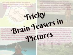 Tricky Brainteasers in Pictures for Adults with Answers Hard Brain Teasers, Brain Teasers For Adults, Brain Teasers With Answers, Hard Puzzles, Logic Puzzles, Puzzles For Kids, Brain Yoga, Fun Brain, Math Skills
